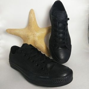 Converse Black Low Mono Leather Women's 6.5 NWOT